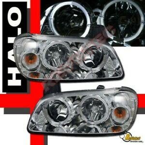 Chrome Dual Halo Angel Eyes Headlights For 2000 2001 Nissan Maxima Se Gle Gxe