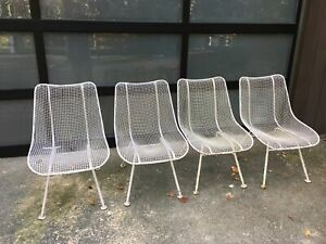 Set Of 4 Russell Woodard Sculptura Mid Century Patio Side Chairs Eames Knoll