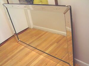 Vintage Large Art Deco Wall Dresser Etched Mirror Local P U Metro Detroit