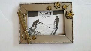 Midwest Of Cannon Falls Photo Frame 5 X 7 Picture Silver Gold Winter Ski
