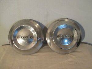 1952 1953 1954 Ford Hubcaps Dog Dish Vintage Poverty Caps