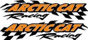 Arctic Cat Racing Checker Snowmobile 2 Sticker Decal Set 11 x48 Orange