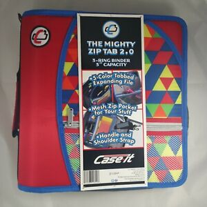 Case it The Mighty Zip Tab 2 0 3 Ring 3 Zipper Binder Expanding File 3 Colors