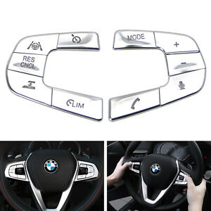 Silver 10pc Steering Wheel Control button Decoration Trim For 17 up Bmw 5 Series