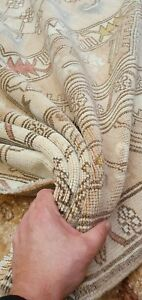 Antique Cr1900 1939 S Muted Natural Dye Wool Pile Oushak Area Rug 5 7 X 9 6