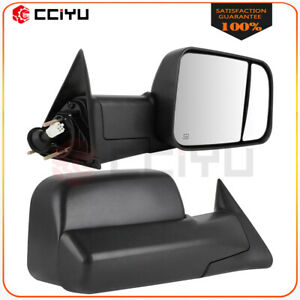 Power Heated Side Tow Mirrors For 98 02 Dodge Ram 1500 2500 3500 W bracket Pair