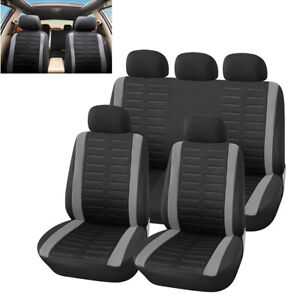 9pcs Polyester Car Seat Covers Full Set Front rear Seat Back Head Rest Protector