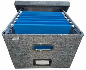Collapsible File Box Storage Organizer With Lid Decorative Without Folders