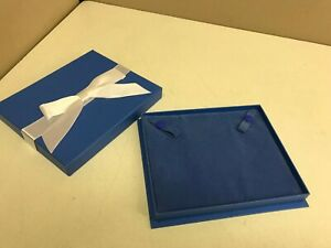 Lot 48 Necklace Retail Jewelry Ribbon Gift Box Blue Paper Velvet Bulk Wholesale