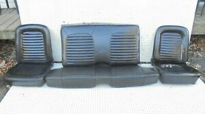 1965 Mustang Coupe Front Bucket Rear Seat Without Tracks Black Complete Set