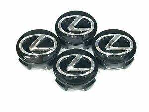Set Of Four New Black Lexus Center Wheel Hub Caps 62mm Free Ship Black Chrome