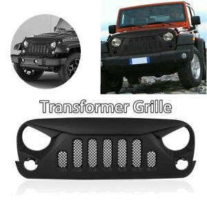 Transformer Bumper Front Grille Matte Black W Mesh For Jeep Wrangler Jk 07 18 Re