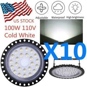 10x 100w Super Bright Cold White Warehouse Daylight Led Floodlight High Bay Lamp