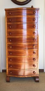 Fine Antq 10 Drawer Flame Mahogany Wellington Chest Admiral Coontz S 1864 1935