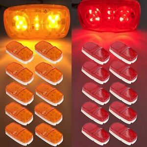 20pcs 10 Diodes Double Bullseye Red Amber Trailer Marker Led Light Clearance