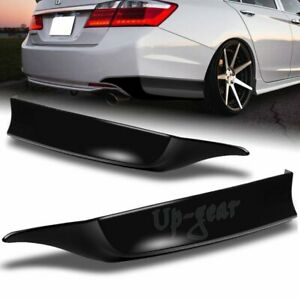 For 2013 2015 Honda Accord 4dr Black Pu Hfp Style 2pcs Rear Bumper Spoiler Lip