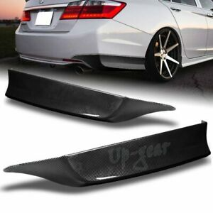 For 2013 2015 Honda Accord 4dr Carbon Look Hfp Style 2pc Rear Bumper Spoiler Lip