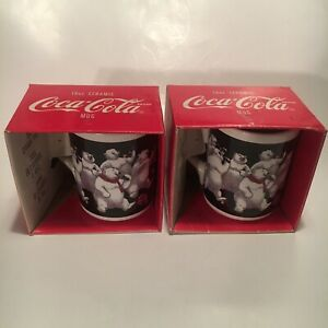(2) bigger COCA COLA mugs-HAPPY POLAR BEAR PARTY--licensed VINTAGE 1999--NEW NOS