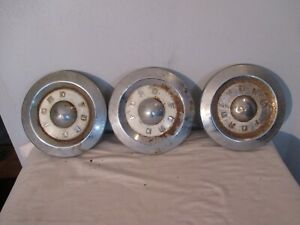 Vintage 1958 1959 Ford Fairlane T bird Hubcaps Center Caps Dog Dish Used 2