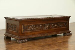 Italian Antique Cassone Dowry Chest Blanket Trunk Or Bench Lion Paws 32573