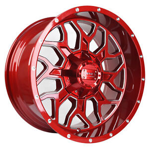 Impact 1 Pc Off Road Wheels 20x10 6x139 7mm 6x135mm 12mm Gloss Red Milled