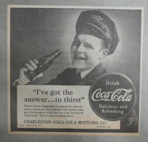 Coca-Cola ad: Fantastic  Artwork! from 1940's 7 x 7 inches I've Got The Answer !