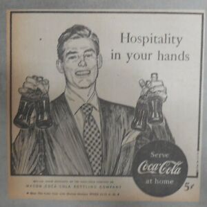 Coca-Cola ad: Fantastic  Artwork! from 1940's 7 x 7 inches Hospitality !