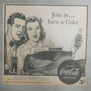 Coca-Cola ad: Fantastic  Artwork! from 1940's 7 x 7 inches Join In !