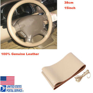 Car Auto Diy Beige Genuine Leather Steering Wheel Cover Wrap Sew On Kit 38cm