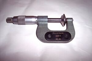 Brown Sharpe 0 1 Outside Disc Micrometer 223 1 0 001 Swiss Made
