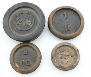 4 Antique Cast Iron Scale Weights Weights 8 Oz 1 Lb And 2lb Siddons