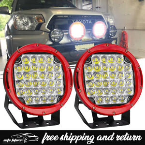 9 inch Cree Led Work Light Offroad Bull Bar Bumper Driving 4x4wd Truck Red Round