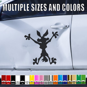 Wile E Coyote Vinyl Hitting Wall Decal Cars Truck Window Sticker Splat Wiley 134