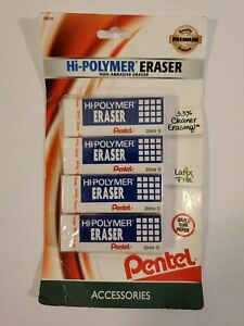 Pentel Hi polymer Erasers 4 Count Damaged Packaging