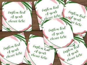 100 500 Customizable Pink Green White Floral Thank You Shipping Labels Stickers