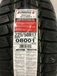 1 New 225 50 17 Uniroyal Tiger Paw Ice Snow Ii Winter Tire
