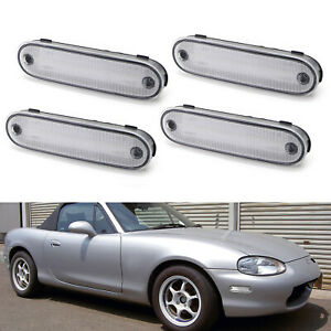 Clear Side Marker Light Housing W pigtails Replacements For 1990 2005 Miata Mx 5