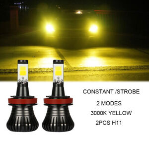 Gold Yellow H11 Fog Lights Bulbs W strobe Lighting For 2015 2017 Subaru Wrx sti