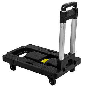 Cart Folding Hand Truck Dolly Push Collapsible Trolley Luggage Aluminium 300 Lbs