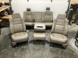 1999 2010 Ford F250 F350 Superduty Lariat Seats Power Heated Tan Leather Front