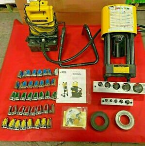 Used Parker Hydraulic Hose Crimper 4480 t30 With Complete Set Of Deis Karrykrimp