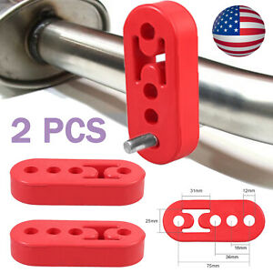 2x 4holes Rubber Exhaust Tail Pipe Mount Holder Bracket Hanger Insulator 12mm