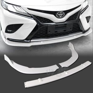 For 2018 2020 Toyota Camry Painted White Abs Front Bumper Kit Spoiler Lip 3pcs