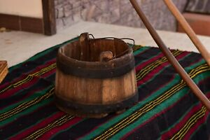 Antique Wooden Bucket Large Water Pail Old Hand Crafted Farmhouse Bucket Decor