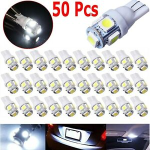 50x 6000k Super White T10 Wedge 5 smd 5050 Led Light Bulbs 2825 158 192 168 194