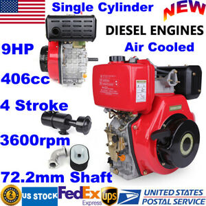406cc 9hp 4 Stroke Diesel Engine Single Cylinder 72 2mm Shaft Air Cooled 3600rpm