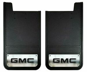 2 12 X23 Rear Mud Flaps Oem Gmc Logo Sierra Truck Chrome Splash Guards Rock