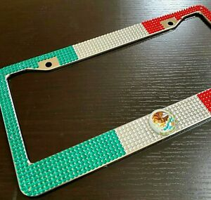 Mexico Flag Diamond Bling Rhinestone Metal License Plate Frame Cover For Any Car