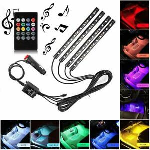 Cigarette Lighter Music Interior Car Atmosphere Neon Lights 4pcs 48 Leds Dc 12v