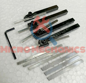 Mini Lathe Parting Turning Tool Holders Set 8mm Shank With 6 Bits 4 Blades